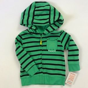 Carters Baby Boy Hoodie Cardigan Zip Up Green